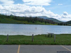 camp-out-colorado-steamboat-lake-swim-beach