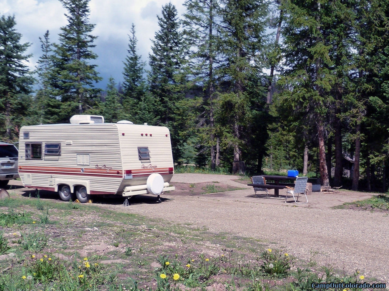 Pull Through RV and Camper Campsite at Hahns Peak Lake Campground